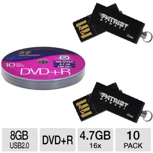8GB USB 2.0 Flash Drive (2pack) + DVD+R 10-Pack Free after Rebate